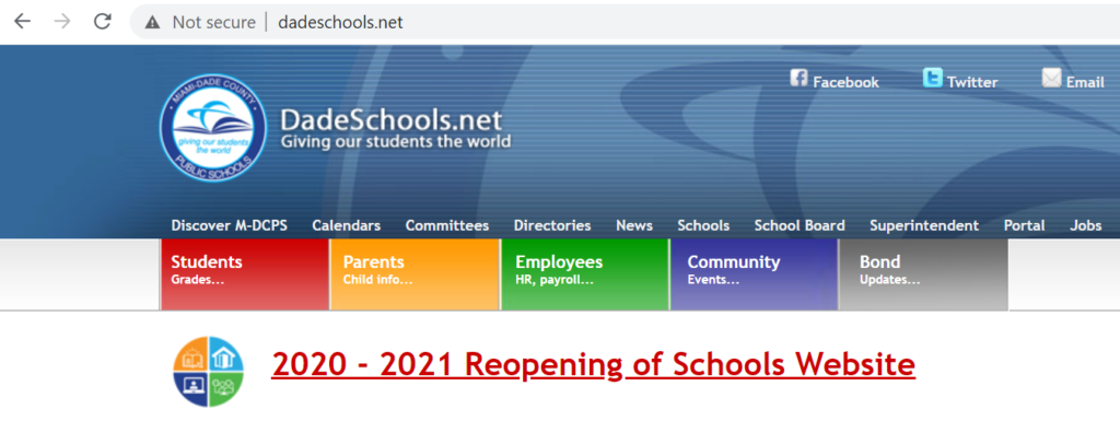 A screenshot of the insecure Miami Dade Public Schools website warning