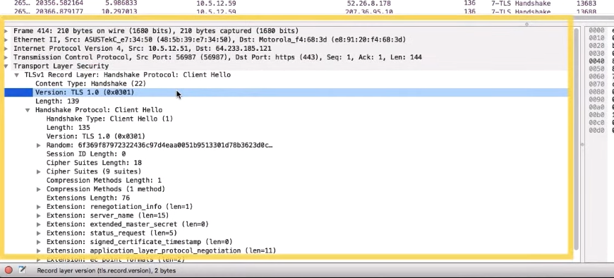 A screenshot of the traffic capture window that shows the version of TLS