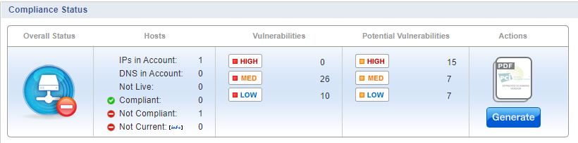 PCI Compliance Scanner Dashboard