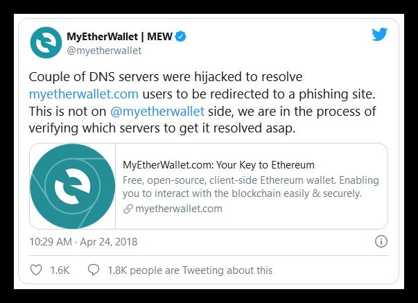 MyEtherWallet DNS attacks