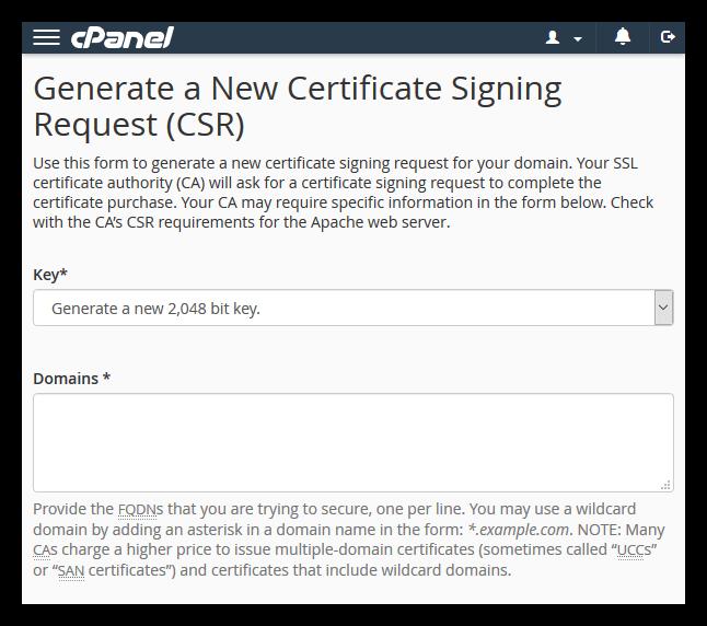 Generate a new CSR in cPanel