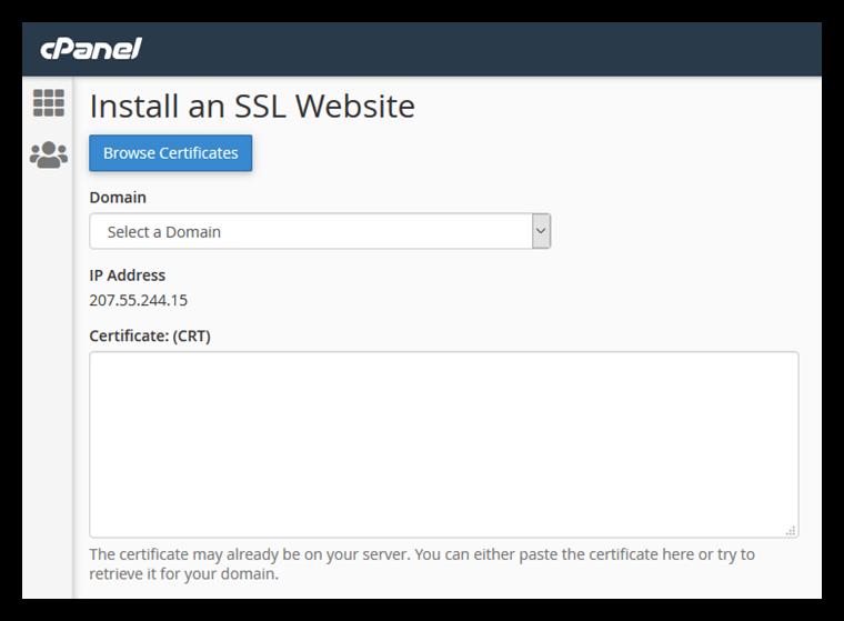 Install an SSL certificate in cPanel