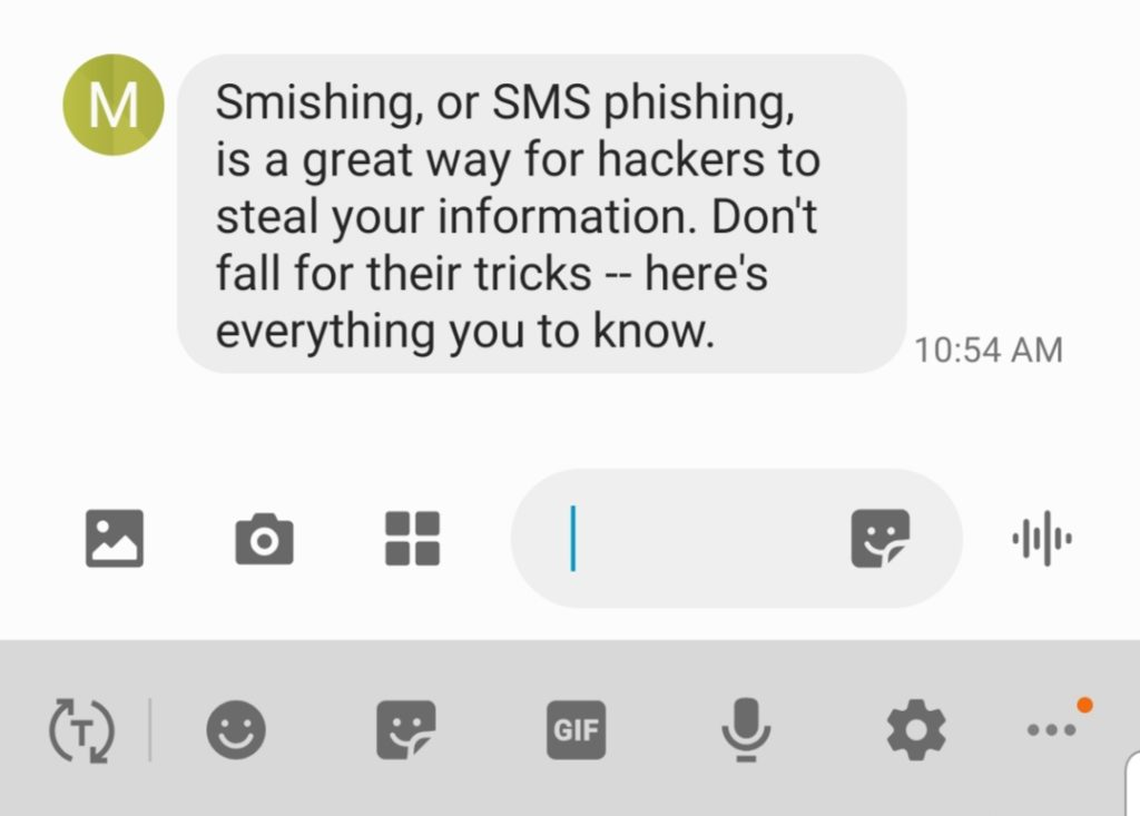 A screenshot of a warning about smishing or SMS phishing