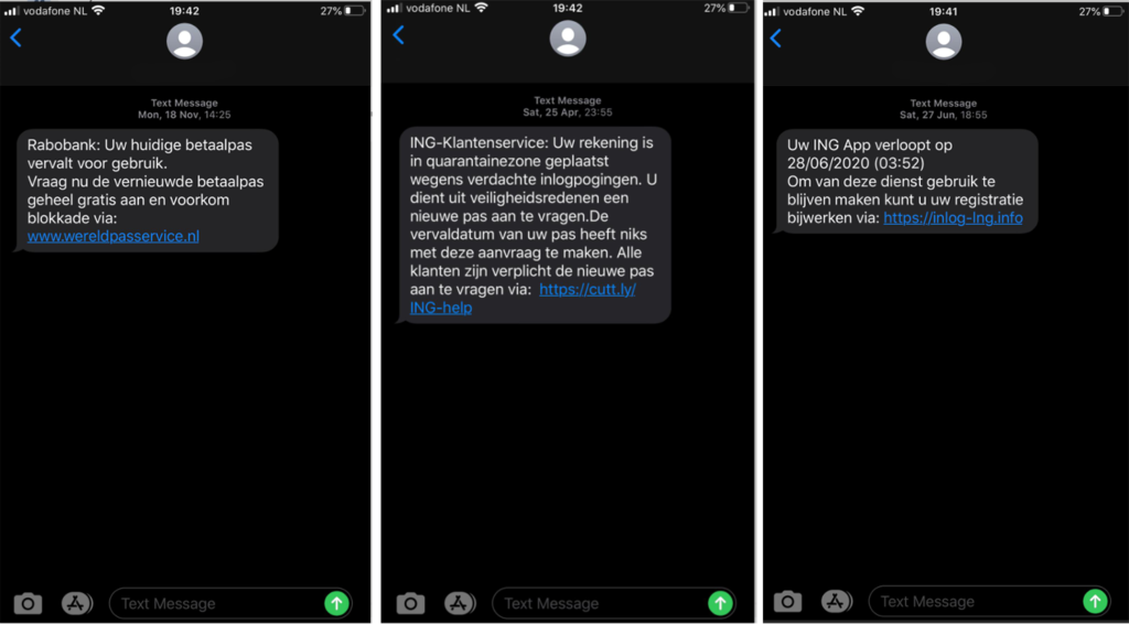 Dutch smishing examples: 3 SMS phishing messages received by an employee in the Netherlands