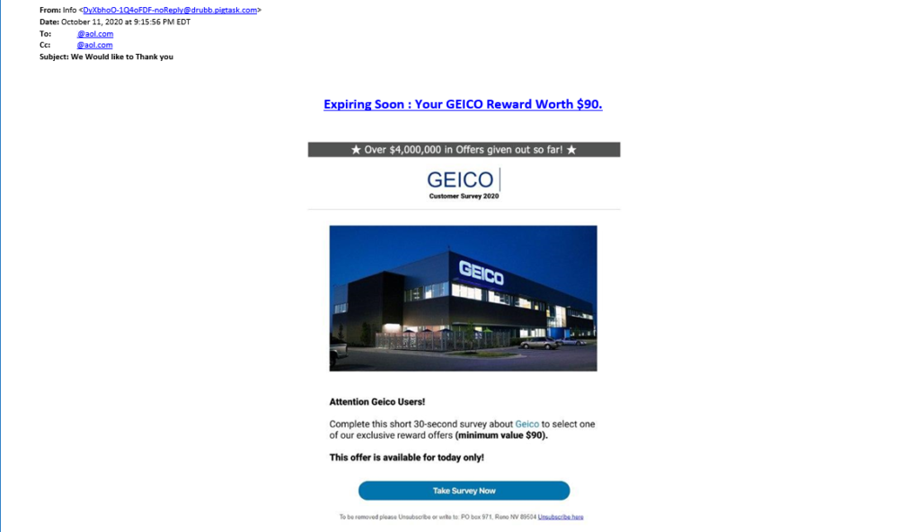 Geico phishing email example