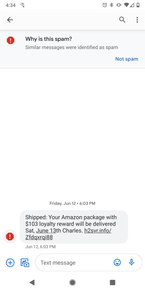 Screenshot of an Amazon smishing scam (Amazon SMS phishing scam)