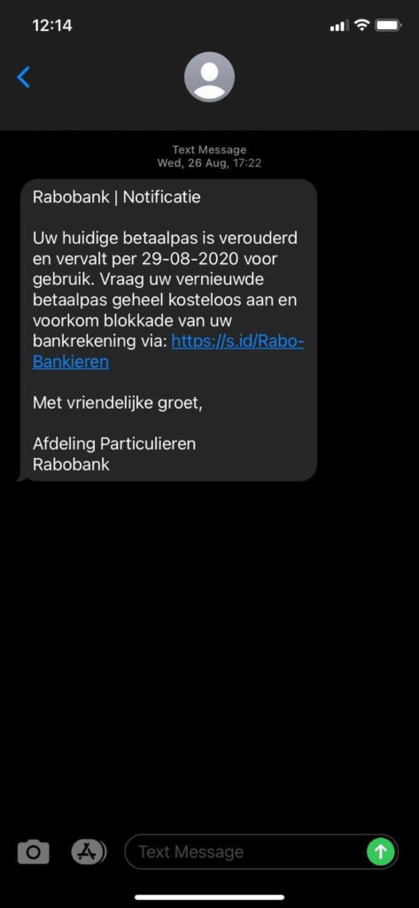 A Dutch SMS phishing (smishing) message impersonating Rabobank