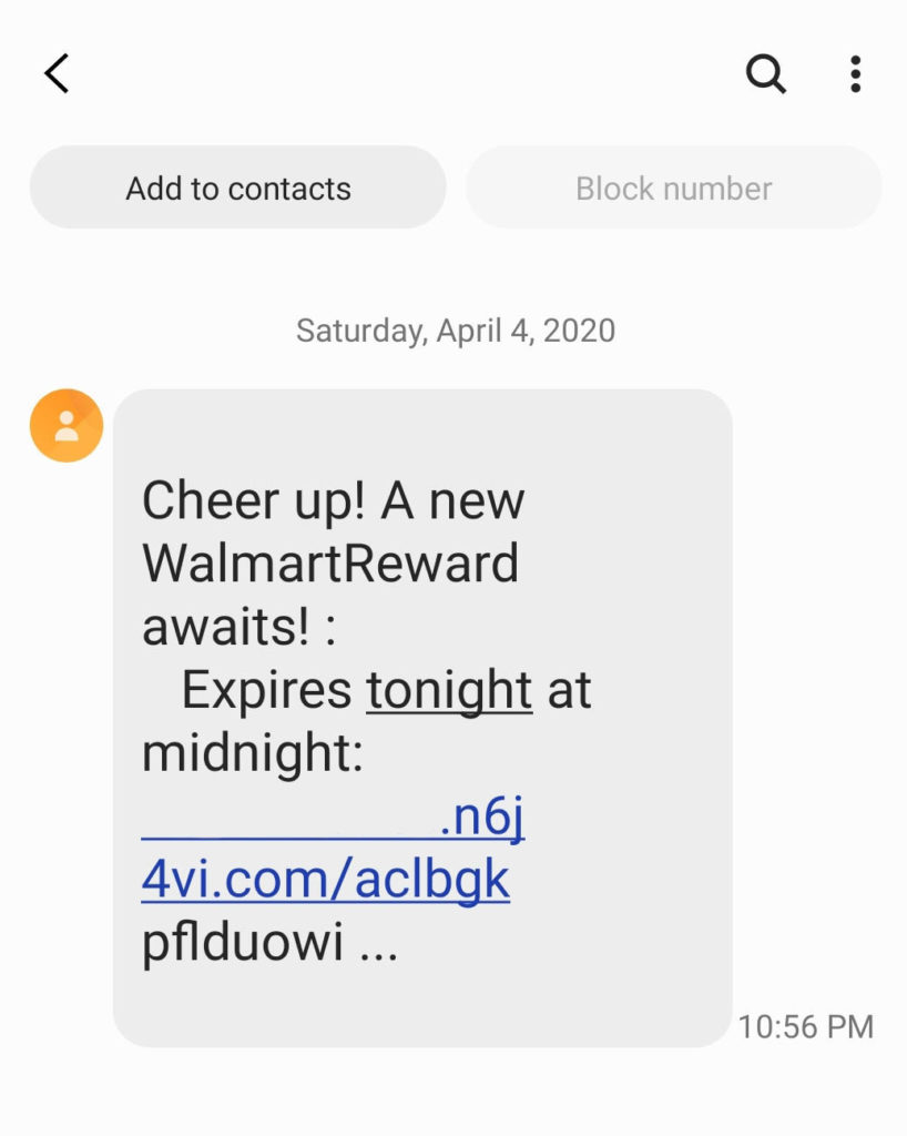 A Walmart smishing / SMS phishing message