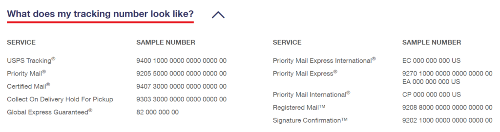 A screenshot of USPS tracking delivery numbers and related information