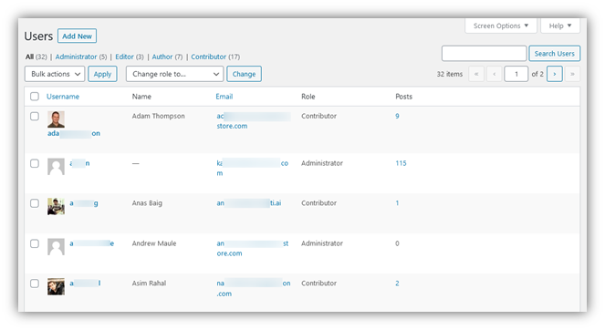 Screenshot of WordPress's user roles for access privileges