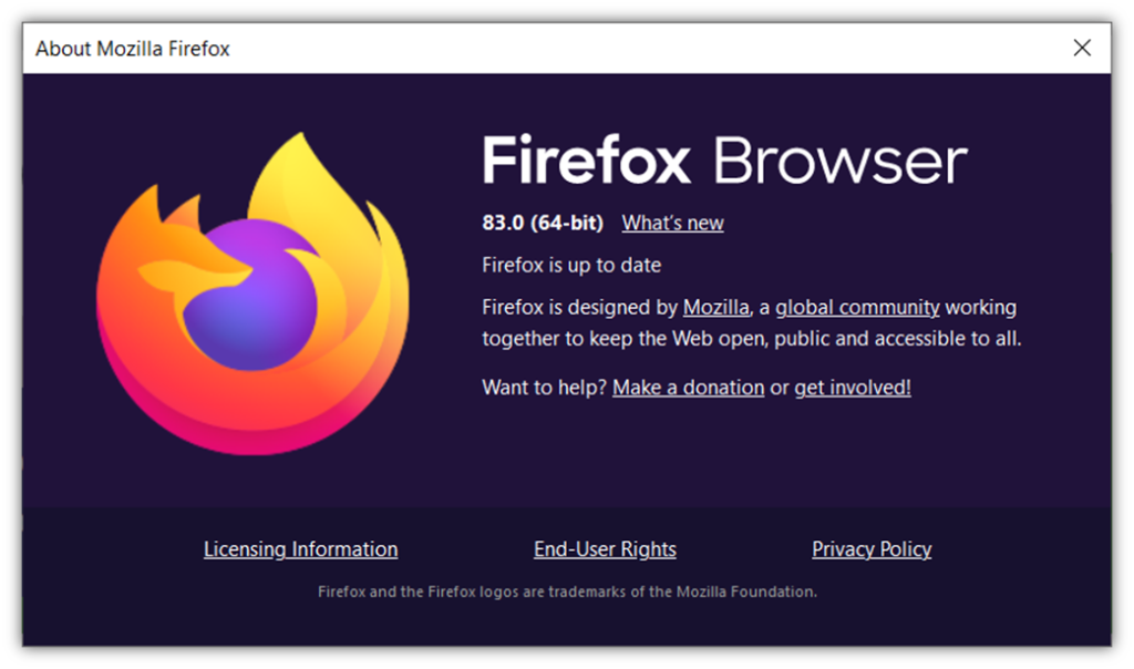 Firefox 83 browser version info for an article on the browser's new HTTPS-Only Mode