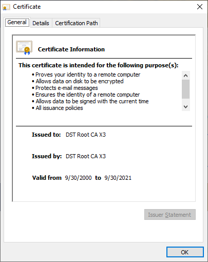 Let's Encrypt Root Certificate Expiration
