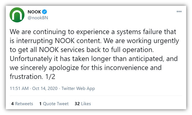 A recent ransomware attacks graphic is a screenshot of the first of two tweets from the official Barnes & Noble NOOK account about the latest ransomware attack