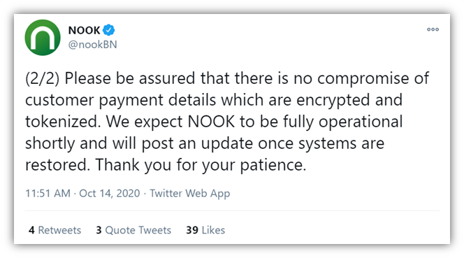 Recent ransomware attacks graphic: It's a screenshot of the second tweet from the official Barnes & Noble NOOK account about the latest ransomware attack