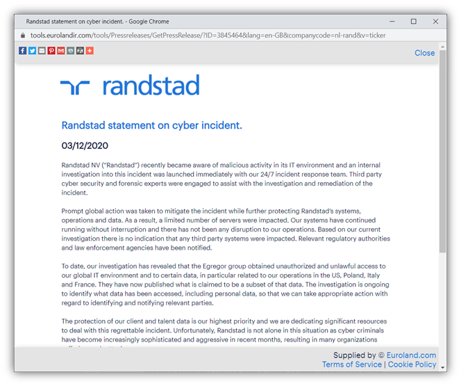 Recent ransomware attack graphic is a screenshot of the official statement from Randstad