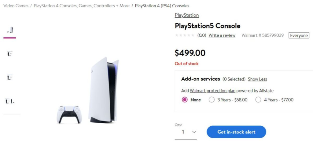 PS5 Bot Network Walmart Sold Out