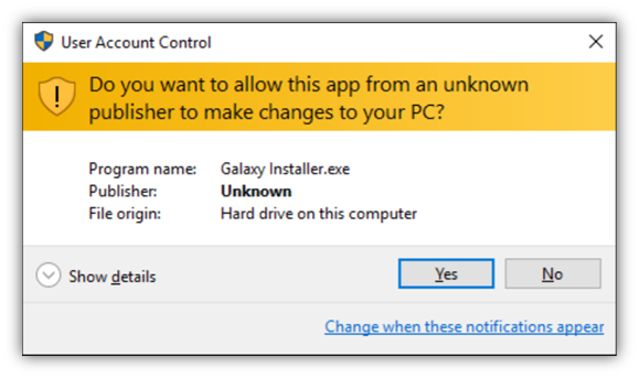 code signing certificate unverified or unknown publisher display message