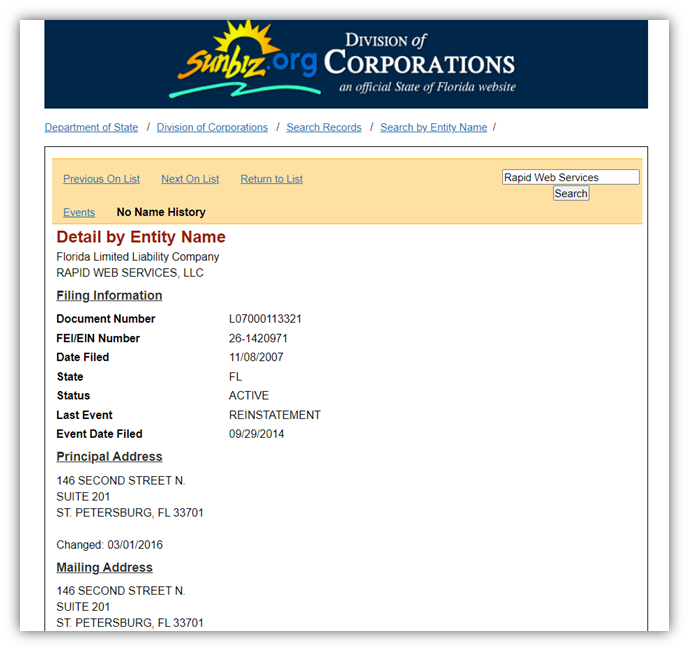 A screenshot of a business's details on the Florida Division of Corporations website