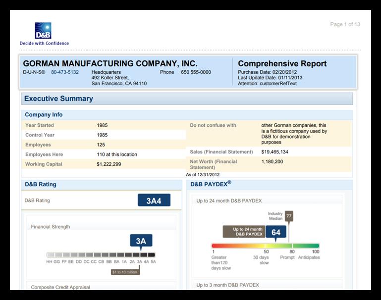 A screenshot of an example Dun & Bradstreet business report
