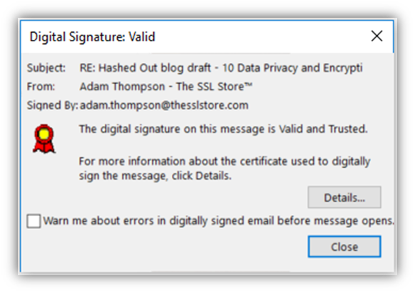 Emailed signed by a valid digital signature to assert digital identity