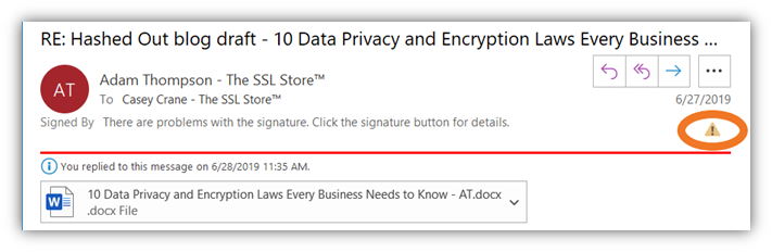 An expired email signing certificate and digital signature warning in Outlook