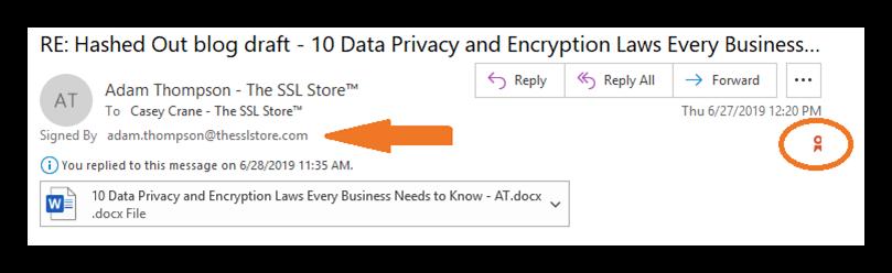 email signing certificate screenshot