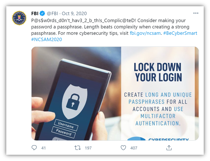 A screenshot of an FBI Twitter post emphasizing passphrases over complex passwords.