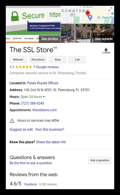 TheSSLstore.com's company information on Google