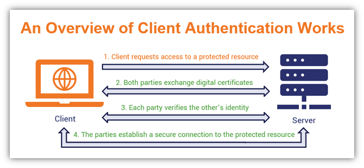 A basic diagram showing a quick overview of how client authentication works and uses a client authentication certificate as part of the process