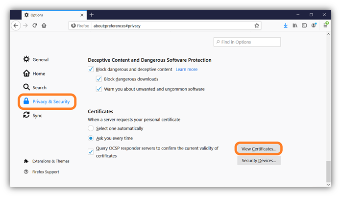 The second of 5 screenshots that shows how to import your client authentication certificate to using Mozilla Firefox.