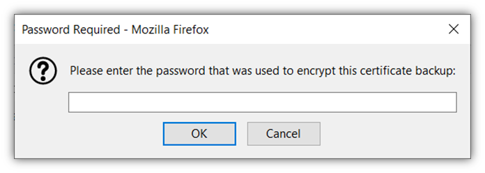 The last of 5 screenshots that shows how to import your client authentication certificate to using Mozilla Firefox.
