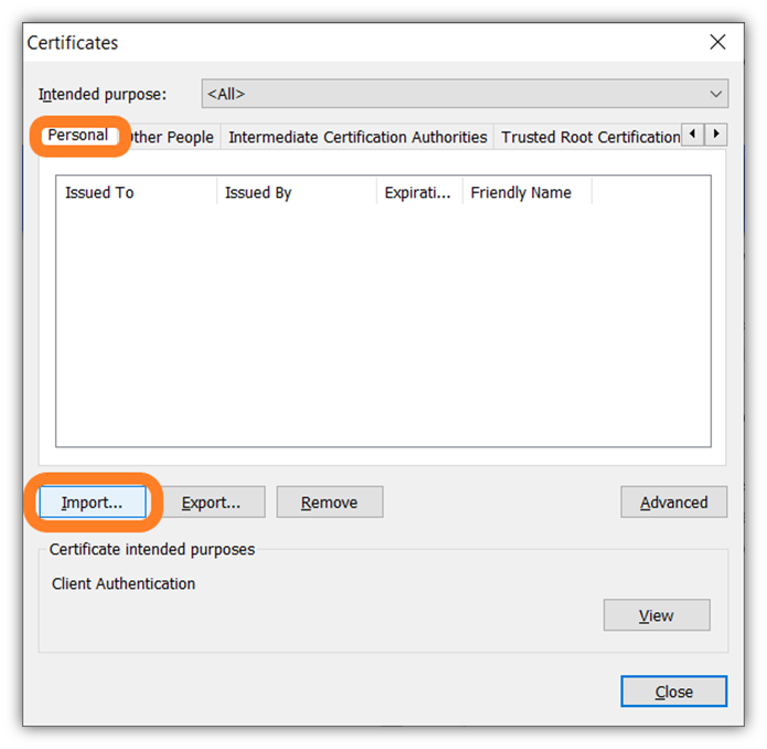 The fourth of 7 screenshots that shows how to import your client authentication certificate in Google Chrome using the certificate important wizard tool.