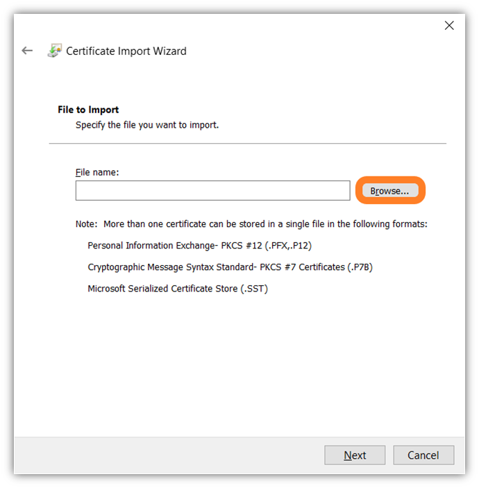 The sixth of 7 screenshots that shows how to import your client authentication certificate in Google Chrome using the certificate important wizard tool.