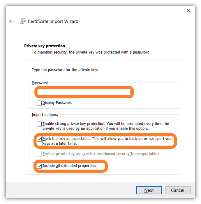 The last of 7 screenshots that shows how to import your client authentication certificate in Google Chrome using the certificate important wizard tool.
