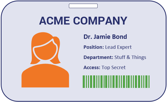 Client authentication graphic: An example of a fake ID card