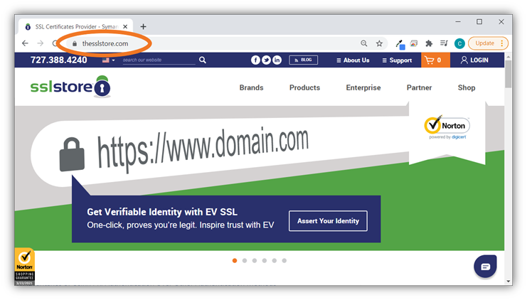 A screenshot of TheSSLstore.com website homepage that shows the website uses HTTPS to secure data in transit