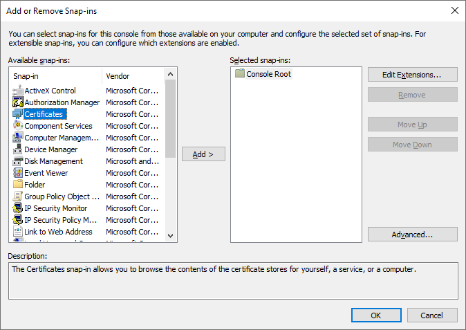 configuring MMC for certificates
