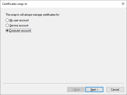 picking which certificate stores you want to manage with mmc