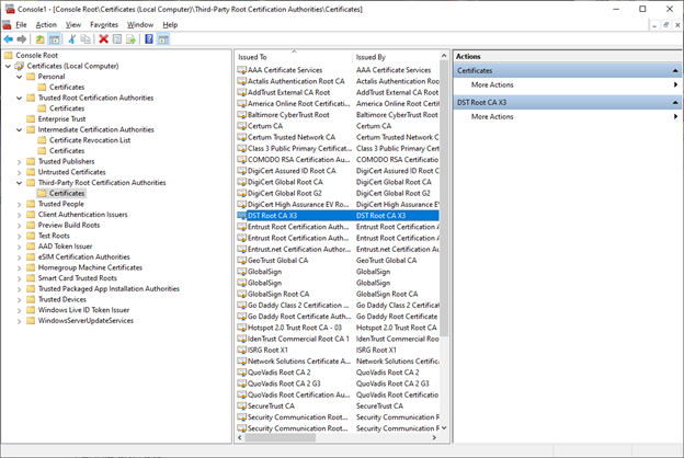 using MMC to remove certificates from Windows 10