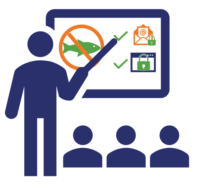 An illustration of someone teaching cyber awareness training