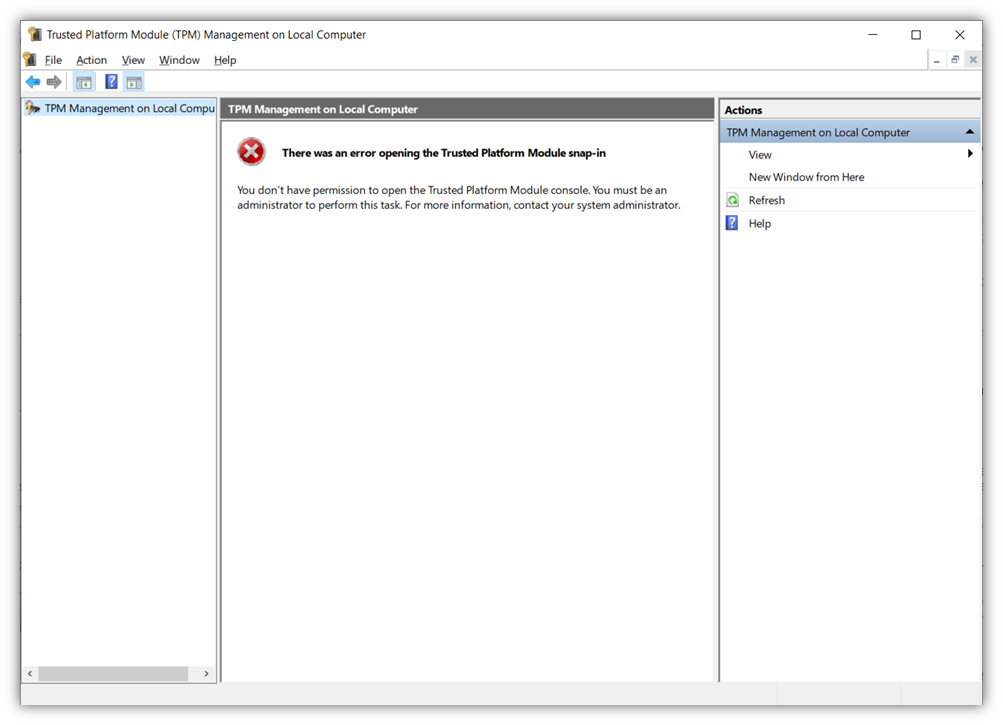 A screenshot of the Windows Trusted Platform Module Console displaying an error due to a lack of administrator access