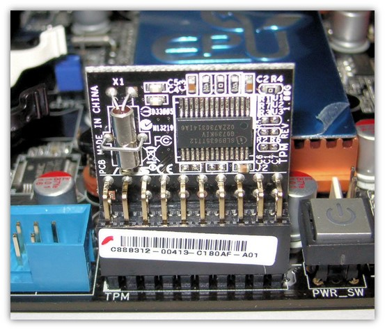 TPM security graphic: A photograph from WikiMedia Commons of a trusted platform module (TPM device)