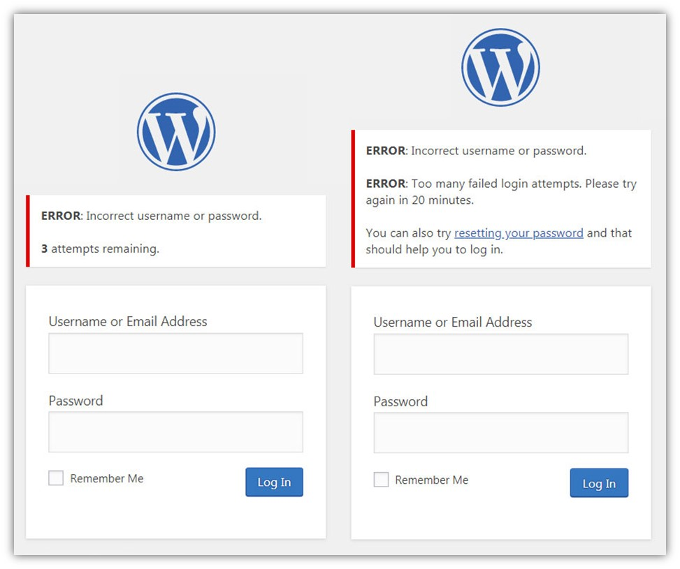 A compilation image of two WordPress.org screenshots that showcase a login attempt limit warning and a failed login attempt notice