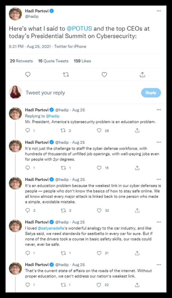 A screenshot we captured from Hadi Partovi's Twitter account