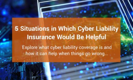 cyber liability insurance blog post feature image of a digital umbrella representing protection with text overlay