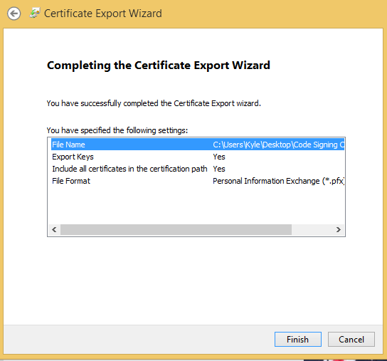 How to Download or Export a Code Signing Certificate in Internet
