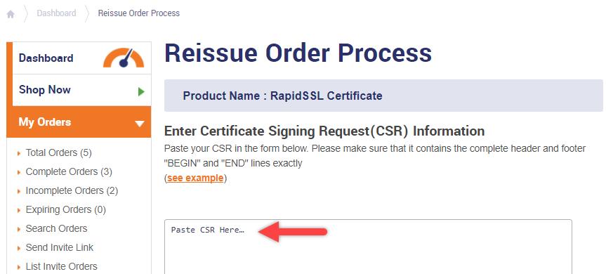 Reissue Order Process