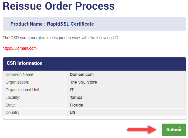 Reissue Order Process