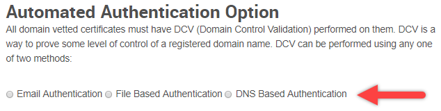 Automated Authentication Option