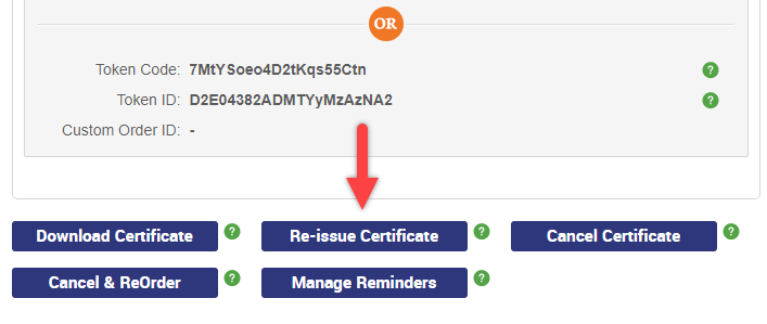 Re-Issue SSL Certificate
